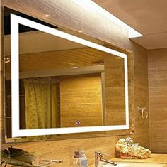 Rectangular Vanity Mirror With Lights : HD booth 2016.LED Backlit mirror with built in Bluetooth player Majestic Mirror Pinterest ...