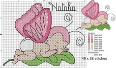 Farfalla Cross Stitch Fairy, Cross Stitch Bookmarks, Cross Stitch Embroidery, Cross Stitch Patterns, Cross Stitch Boards, Friendship Bracelet Patterns, Doll Patterns, Needlepoint, Baby Dolls