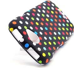 Click Image to Browse: $5.95 Rainbow Polka Dots Hard Case Cover for HTC One S