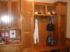 LDK Custom wood built in lockers and drop zone in mudroom Built In Lockers, Wood Lockers, Drop Zone, Custom Wood, Mudroom, Closets, Entryway, Furniture, Design