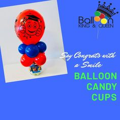 Our grad candy cups are flying out the door for the little ones! grade, everyone loves candy and of course balloons! Be sure to order yours today for the little one in your life. Bubble Balloons, Big Balloons, Confetti Balloons, Baby Shower Balloons, Birthday Balloons, Balloon Bouquet Delivery, Balloon Delivery, Balloon Columns, Balloon Arch