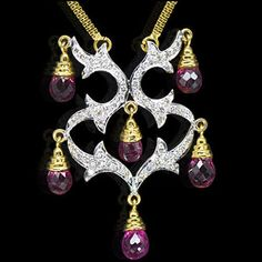 18k Pure Y Gold Natural Top Tourmaline Diamond Ladies Pendant Chain handmade