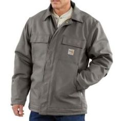Carhartt Men's Flame Resistant Traditional Quilt Lined Coat - Steel - Protect yourself from flash fire or electric arcs on the job. Our flame-resistant duck traditional coat is quilt-lined and made of 13-ounce flame-resistant, 100% cotton duck. It features two inside patch pockets with flame-resistant hook-and-loop closures, Nomex inside-waist drawcord for an adjustable fit, rib-knit storm cuffs to seal out cold air, a two-way brass zipper and snaps under the collar for an optional hood ...