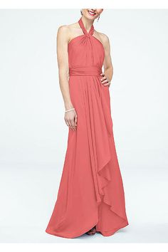 David's bridal - sizes 2&4 only. Long Matte Charmeuse Dress with Y Neckline F15736