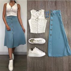 Which combination do you prefer? Don't forget to tag your friends like us biz. Modest Dresses, Modest Outfits, Skirt Outfits, Classy Outfits, Stylish Outfits, Casual Dresses, Summer Outfits, Fashion Dresses, Nice Outfits