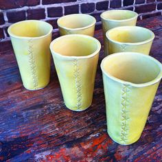 Six Wonky Hand Built Pottery Cups