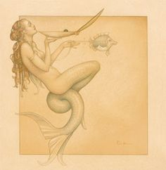 """Mermaid"" drawing by Michael Parkes"