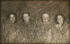 the enigmatic wheat family — vintage american snapshot dated 1905.