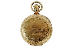 Elgin gold triple hunter case pocket watch with chinoiserie decoration. The back with engraved cartouche with initials. The face with Roman numerals and inset second hand. The lever set 15 jewel movement. Circa 1885 was made that year and signed . Roman Numerals, Chinoiserie, Jewelry Gifts, Jewelry Watches, Initials, Jewels, Antiques, Gold, Accessories