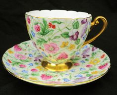 Set of 4 Shelley Ripon Chintz Tea Cup and Saucer RARE Collection | eBay