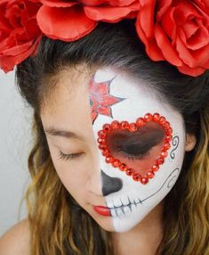 Day of the Dead Face Painting Tutorial for Kids: Celebrate the spiritual holiday with sugar skull face paint #facepainttutorial