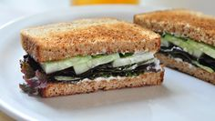 Cucumber basil sandwiches. Low cal and a great way to use cucumbers in the summer time, especially if your garden was like ours and produced more than we could give away!