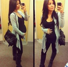 A simple, long cardigan over leggings and a black tank creates an effortlessly chic maternity style!