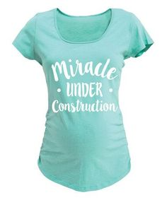 This Mint 'Miracle Under Construction' Maternity Scoop Neck Tee is perfect! #zulilyfinds