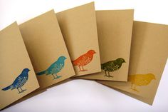 handmade paper greeting cards set simple pretty cute bird notecards christmas gift  animal cards birthdays thinking of you thank you hello on Etsy, $8.00 AUD