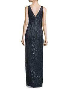 TCX81 Aidan Mattox Sleeveless Beaded Fringe Column Gown, Twilight