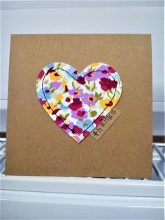 Handmade sewn heart fabric made with pretty fabric Fabric Cards, Paper Cards, Cute Cards, Diy Cards, Textiles, Sewing Cards, Fabric Stamping, Christmas Card Crafts, Free Motion Embroidery