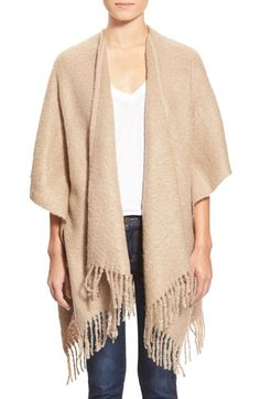 Nordstrom Knotted Fringe Cashmere Ruana available at Winter Looks, Fall Looks, Capes & Ponchos, Cashmere Wrap, Beige Cardigan, Church Outfits, Crochet Trim, Fashion Outfits, Womens Fashion