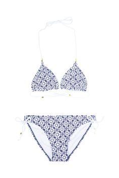 Maillot de bain 2 pièces imprimés graphique bleus et blanc Cache-Cache