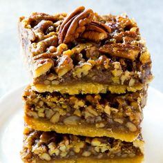 These pecan pie bars are the ultimate Thanksgiving dessert.