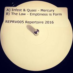 #nowspinning Infest & Quasi/The Law - Mercury/Emptiness Is Form. Repertoire: REPRV005 (2016). After what seemed like an age (pre-order was back in Jan) the latest Repertoire release has landed. I have been rinsing the digital of this (if you can rinse zeros and ones) and both tracks are amazing. Infest & Quasi is takes you back to the golden age of atmospheric almost GLR goodness. You know it's new school when that amen drops though. The programming and production is incredible. I'm reminded…