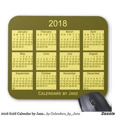 2018 Green Calendar by Janz Mouse Pad January February March April, April 1st, Presents For Him, Calendar, Turquoise, Green, Gold, Teal, Yellow