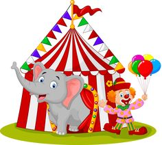 Cartoon cute elephant and clown with circus tent Royalty Free Stock Vectors Vintage Circus Posters, Carnival Themed Party, Circus Theme, Circus Art, Happy Elephant, Cute Elephant, Art Drawings For Kids, Art For Kids, Owl Vector
