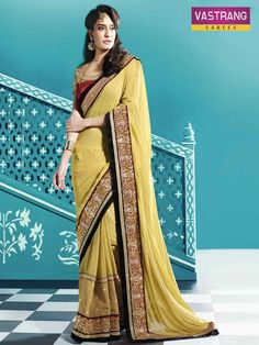 Gorgeous georgette emboidered saree with art silk blouse