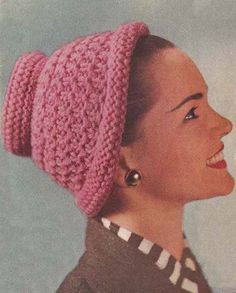 1956 Pink Hat Vintage Knitting Pattern PDF 117 by annalaia on Etsy