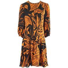 2b30baa104f Gucci Orange and Black Print Long Sleeve Dress - 42