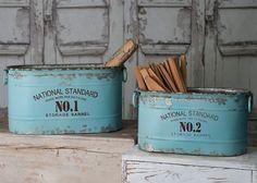 Set/2 Rustic Industrial Oval Aqua National Standard Nos. 1 and 2 Storage Barrel Buckets