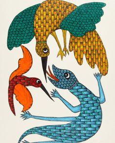 indian folk art - Google-søk Gond Painting, Tribal Community, Krishna Leela, Indian Folk Art, Chameleons, Lizards, Tribal Art, Art Google, Lions