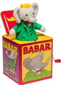 Babar the Elephant Jack-in-the-Box Toy Plays Pop Goes the Weasel Elephant Party, Elephant Love, Baby Toys, Kids Toys, Pop Goes The Weasel, Elephants Never Forget, Jack In The Box, Toy 2, Pull Toy