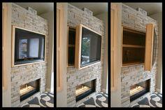 TV with hidden shelves over fireplace