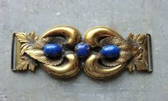 Fabulous Large Victorian Revival Buckle Lapis Blue Glass Stones