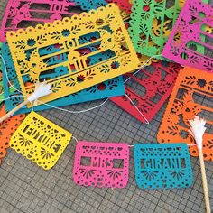 Customized papel picado mexican fiesta wedding cake topper #bunting #cake #topper #papelpicado #papercut #mexican #fiesta #wedding