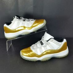 huge discount 355b7 aa167 Nike Air Jordan 11 XI Low Retro Boy s Youth Basketball Shoes White Gold  Size 4Y