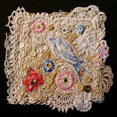 Fiber Art doily - Made from deconstructed and reconstructed vintage crochet, embroidery and lace.