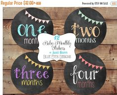 ON SALE Baby Monthly StickerMonth by Month by blueeyesdesigns27