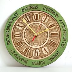 Meal times unique kitchen vintage style decor wooden wall clock emerald green. Personalized, housewarming, one-of-a-kind, victorian, gift