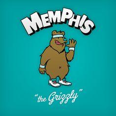 """Memphis """"the Grizzly"""" design de logo NBA en personnages de dessin animés"""