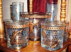 Found more Culver Seafare (seahorse glasses shown previously) - ice bucket and 4 rocks glasses - all in great condition!