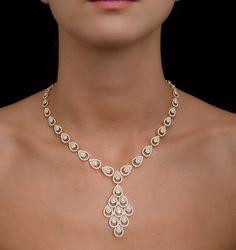 Diamond Necklace Diamond Necklace Pyrus Halo in Rose Gold Diamond Necklace Set, Gold Necklace, Diamond Bracelets, Diamond Choker, Diamond Rings, Bangles, Rose Gold Jewelry, Bridal Jewelry, Gold Jewellery