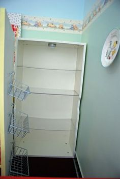 IKEA Hackers: Vintage style play kitchen. Fridge: plexi-glass shelves, touch light, basket on door.