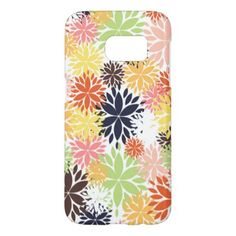 #pink - #Beautiful girly trendy floral illustration pattern samsung galaxy s7 case