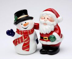 Santa Claus With Snowman Salt And Pepper Shakers U$22