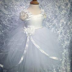 Custom Made to Order Baptism Dress Tutu Dress Flower Dress White Tutu by ZulettCouture