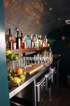 Meet Odessa, a 1955 Airstream Flying Cloud who also happens to be a mobile speakeasy Airstream for your private events and parties in the Metro Denver area. Airstream Flying Cloud, Mobile Catering, Coral Walls, Gin Bar, Caravan Ideas, Tin Ceiling Tiles, Mobile Bar, Shag Carpet, Bar Interior