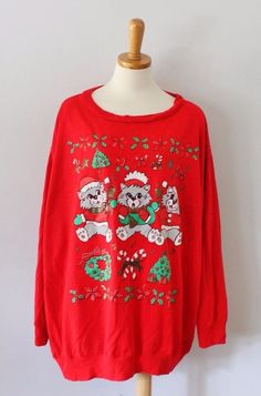 Ugly Christmas Sweater Women men 3X xxxl funny Cats kitten jumper sweatshirt C29 #LindaLori #Crewneck