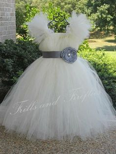 Ivory Tutu Dress with Grey Flower Sash.. Great Wedding Flower Girl Dress, Party Dress, Birthdays,  Can be made in Other Colors. $68.00, via Etsy.